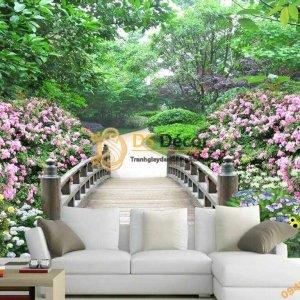 Tranh dan tuong con duong hoa va cay 5D009 phong khach