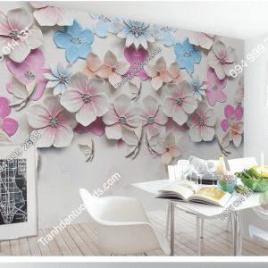 Tranh dán tường hoa đào nổi 5D032 phòng ăn
