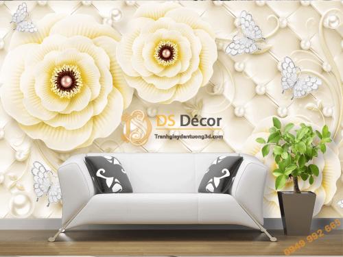 Tranh dan tuong hoa hong vang ngoc trai 5D015