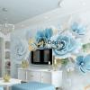 Tranh dan tuong hoa mau don xanh 5D011 phong an