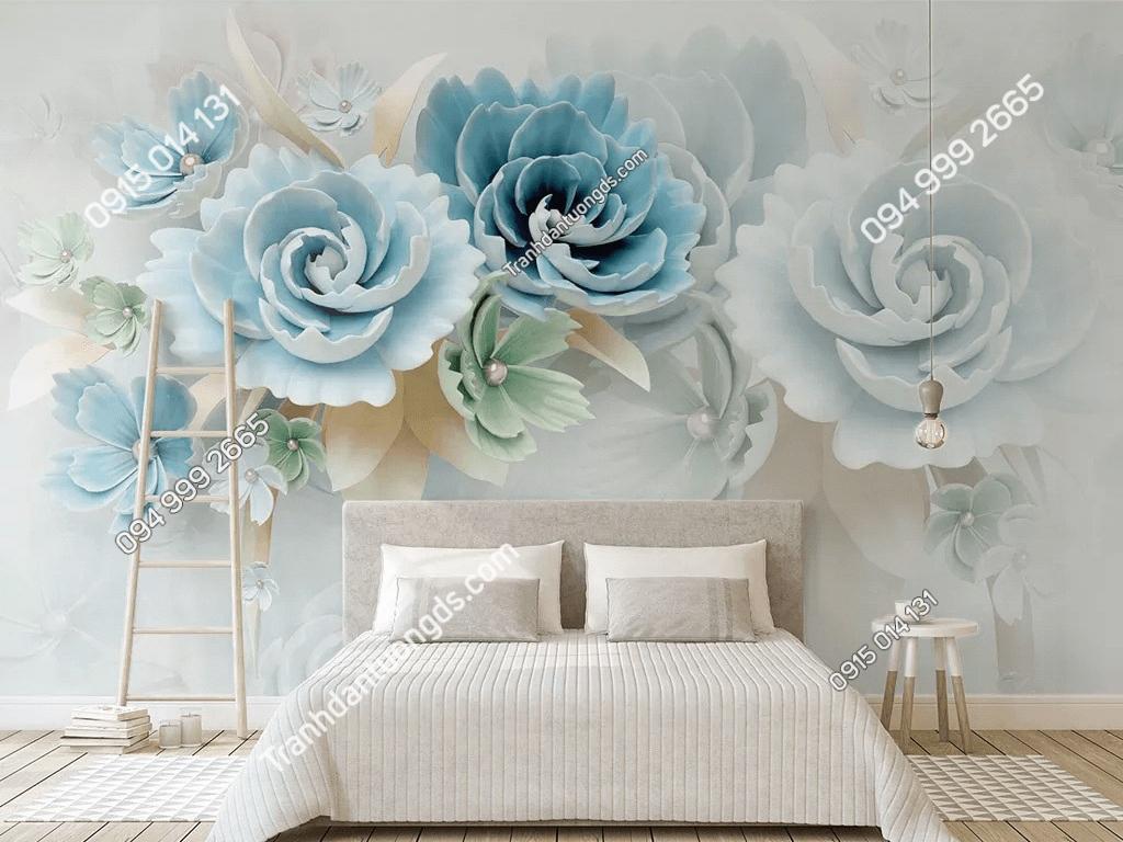Tranh dan tuong hoa mau don xanh 5D011 phong ngu DS_19107445