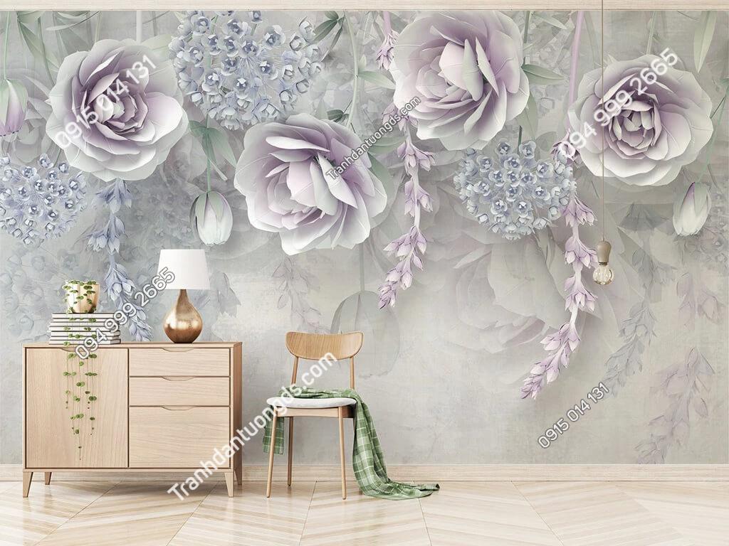 Tranh dan tuong hoa oai huong 5D010 phong lam viec