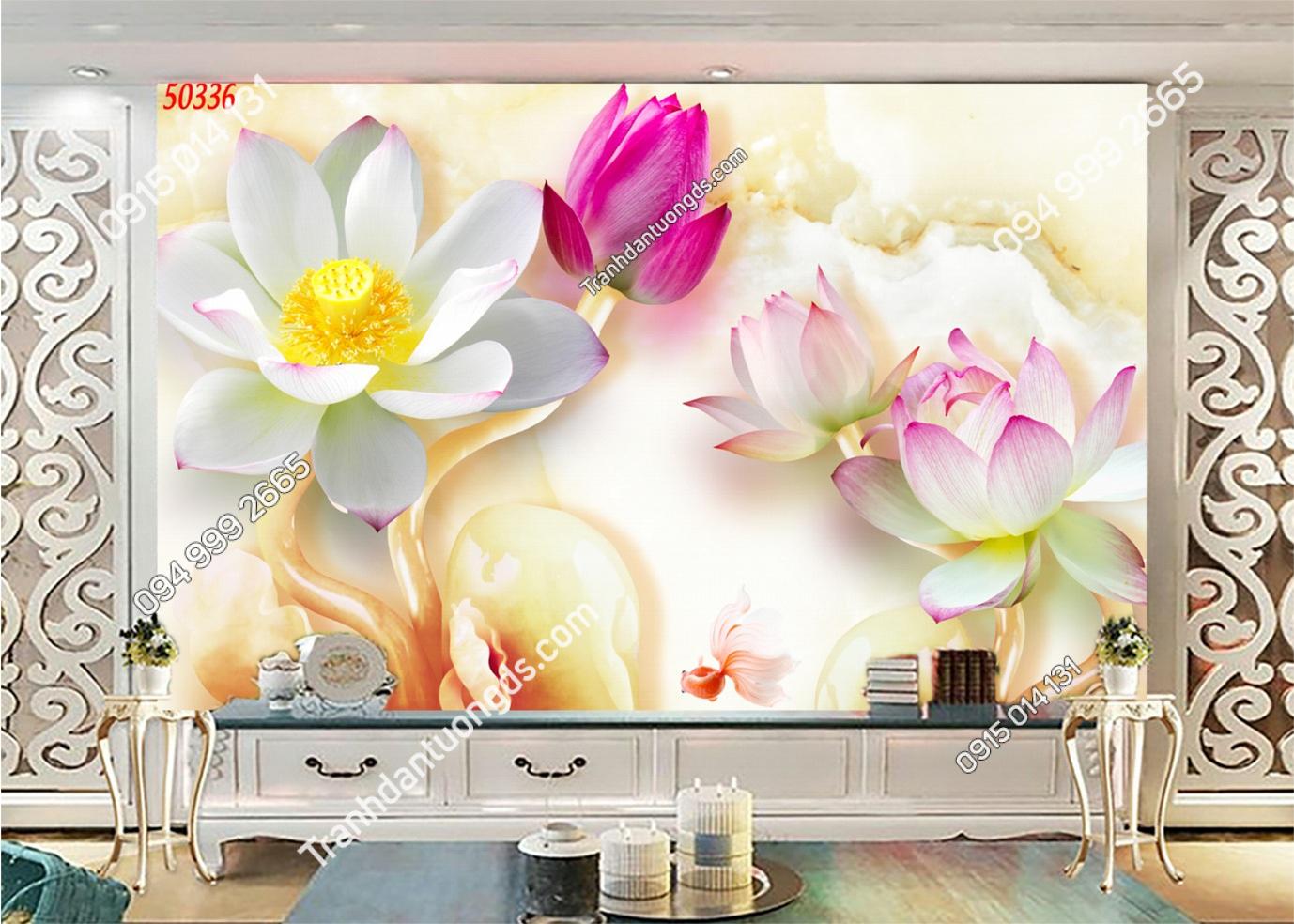 Tranh dán tường hoa sen 3D 50336