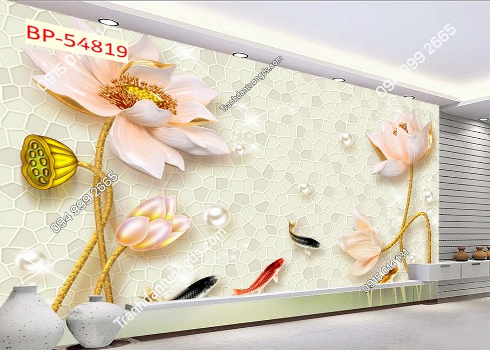 Tranh dán tường hoa sen cá chép 54819