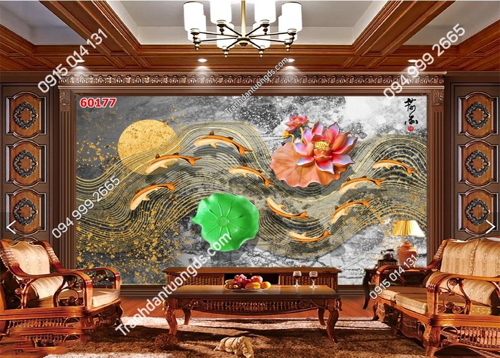 Tranh dán tường hoa sen cá chép 60177