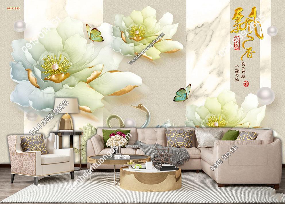 Tranh dán tường hoa sen giả ngọc 52953