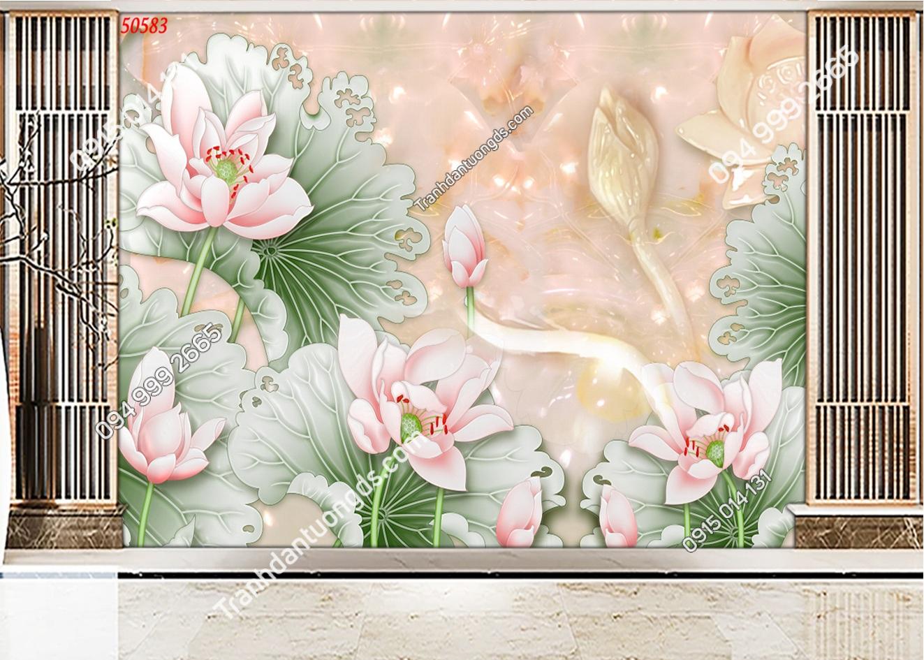 Tranh dán tường hoa sen ngọc 3D đẹp 50583