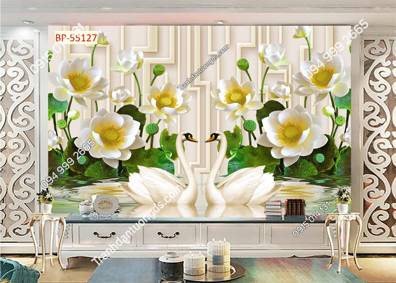 Tranh dán tường hoa sen trắng nhụy vàng 55127