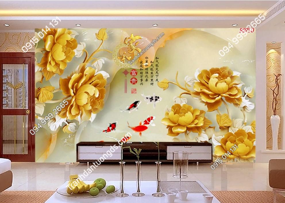 Tranh dán tường hoa sen vàng 50750