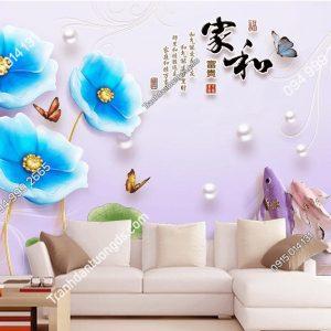 Tranh dán tường hoa sen xanh dương và cá 5D042