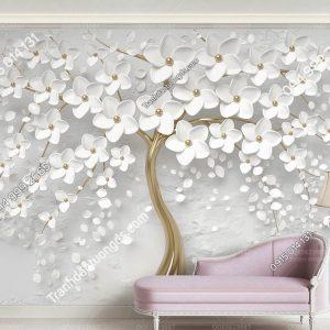 Tranh dán tường hoa trắng 3D nổi 5D031