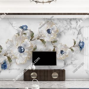 Tranh dan tuong hoa trang suc thuy tinh 5D019 phong khach