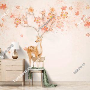 Tranh dan tuong nai sung tam hong cam 5D023
