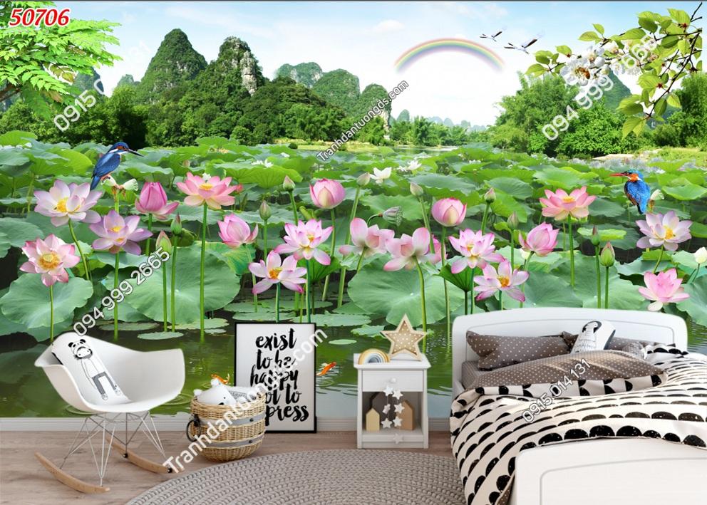 Tranh dán tường phong cảnh đầm hoa sen 3D đẹp 50706