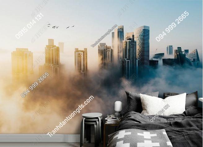 Tranh dán tường thành phố dán phòng ngủ khói DS_17143208