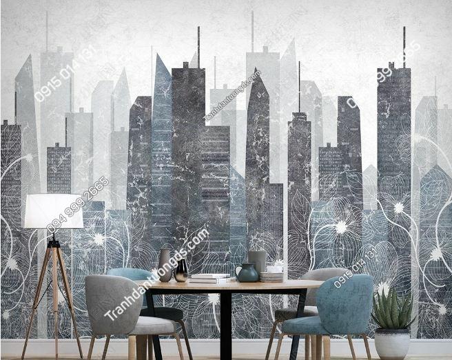 Tranh dán tường thành phố hiện đại và hoa DS_23993400