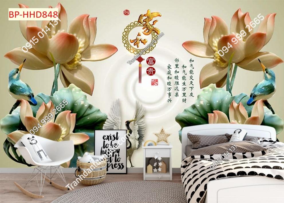Tranh hoa sen giả ngọc dán phòng ngủ HHD848