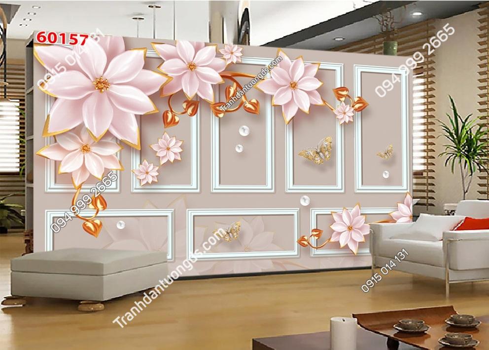 Tranh hoa sen hiện đại dán tường phòng khách 60157