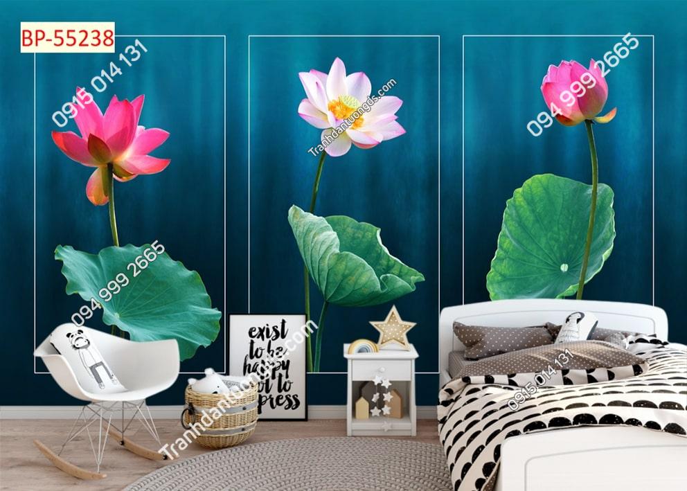 Tranh hoa sen kết hợp ô phòng ngủ 55238