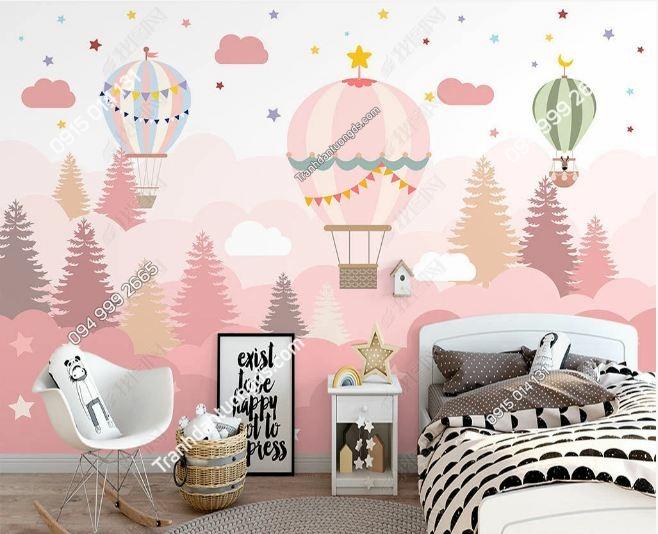 Tranh khinh khí cầu hồng dán tường phòng trẻ em DS_23867818
