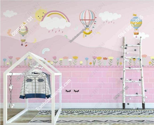 Tranh khinh khí cầu hồng dán tường phòng trẻ em DS_25173636
