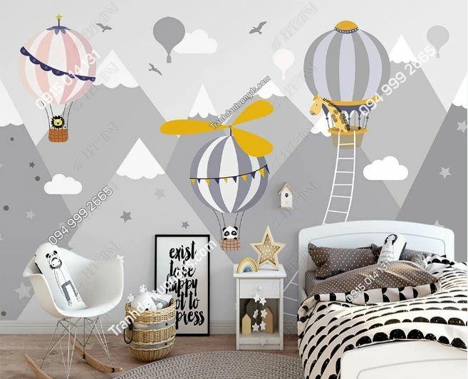 Tranh tường khinh khí cầu dán phòng trẻ em DS_23865534