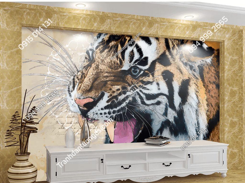 Tranh dán tường đầu hổ 5D061 dán phòng khách