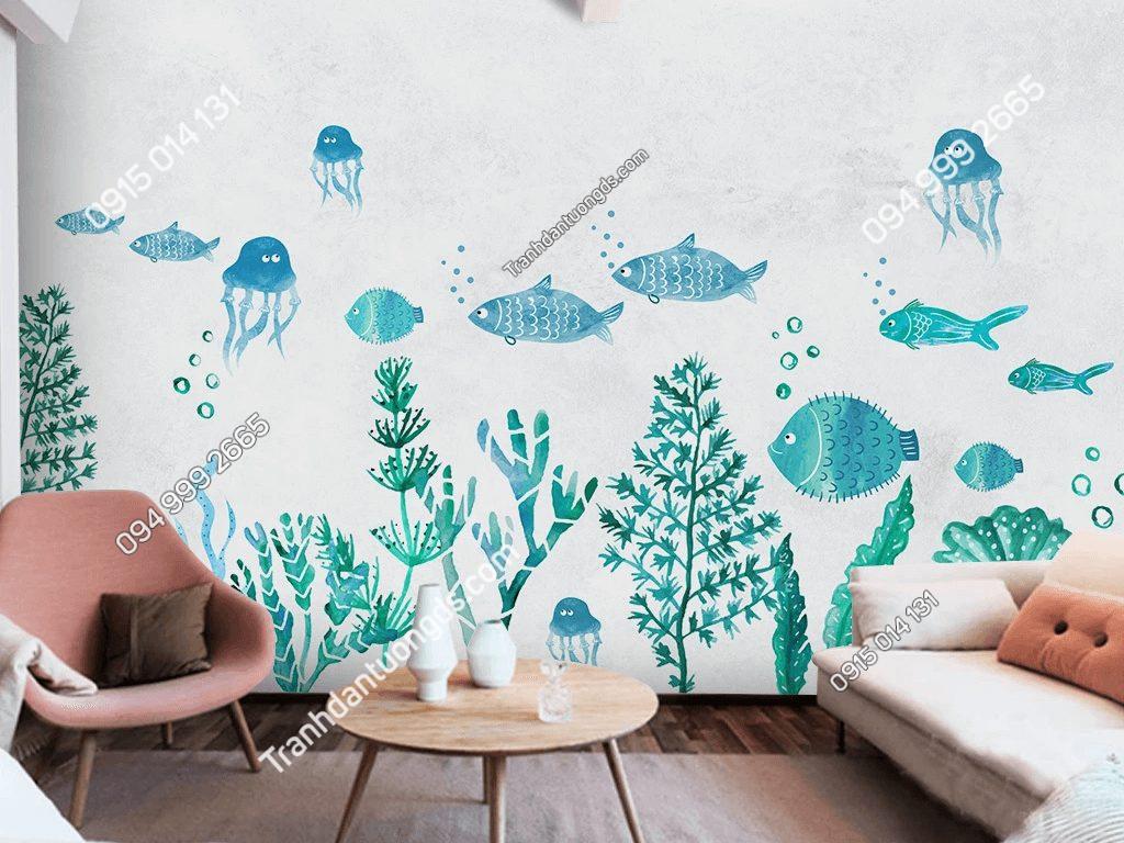 Tranh dán tường cá và rong biển 5D058