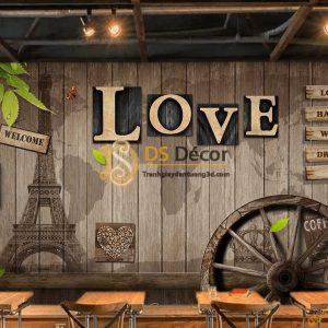 Tranh dán tường cafe bánh xe gỗ love 5D048