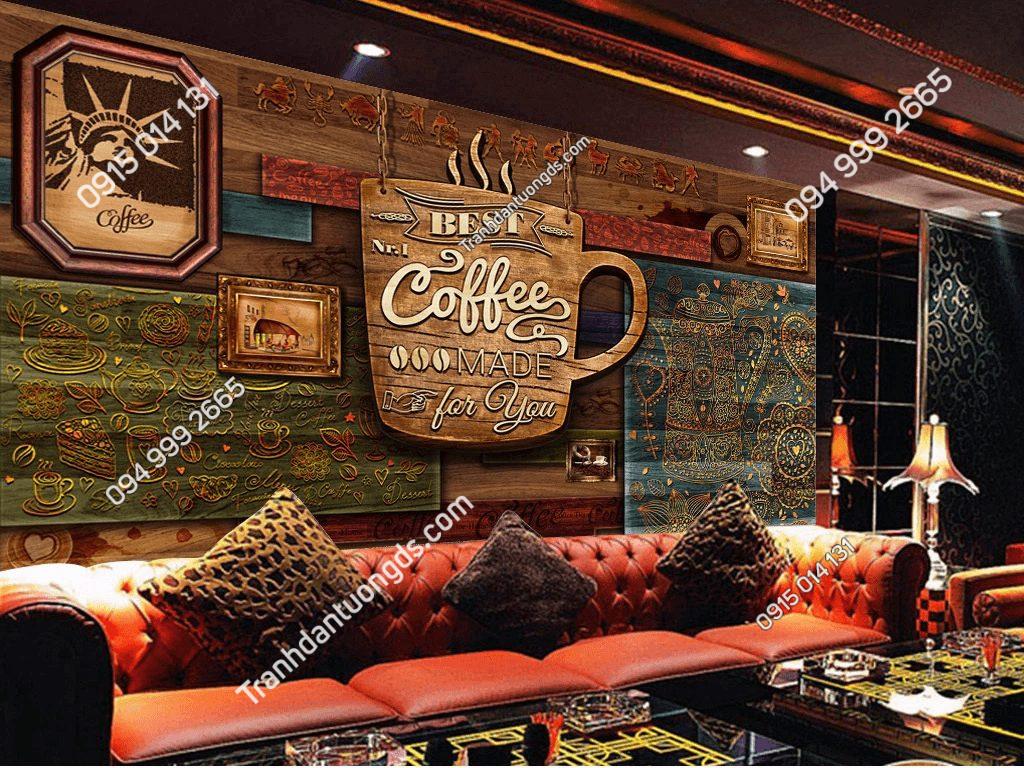 Tranh dán tường cafe mộc 5D051 dán quán bar