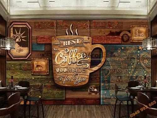 Tranh dán tường cafe mộc 5D051 quán cafe trà sữa