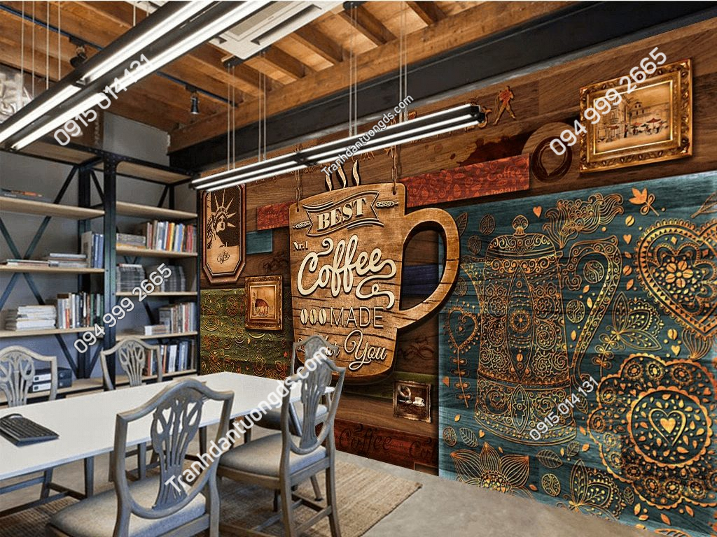Tranh dán tường cafe mộc 5D051