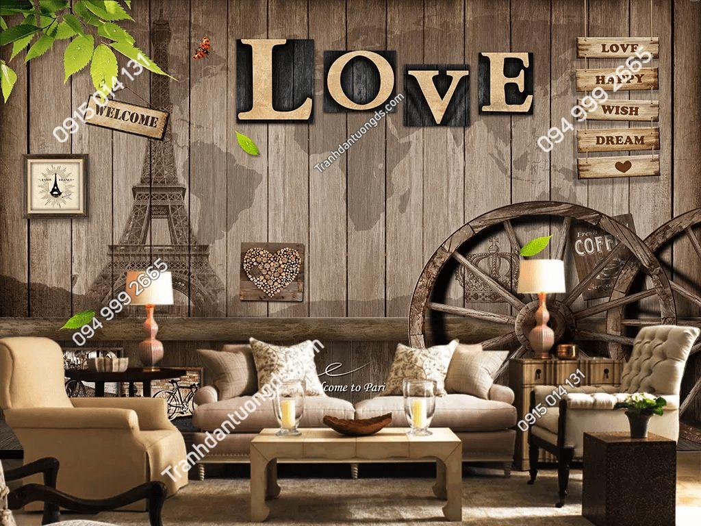 Tranh dán tường cafe trà sữa bánh xe gỗ love 5D048