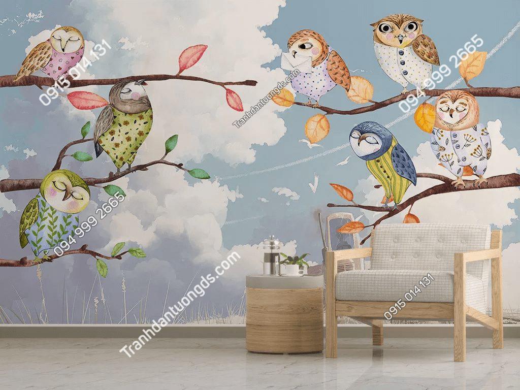 Tranh dán tường chim cú mèo 5D064 phòng cho bé