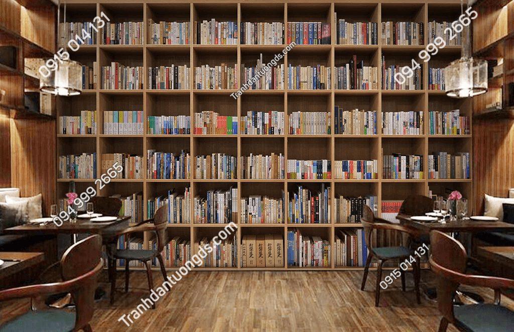 Tranh dán tường giả kệ sách 5D060 phòng học