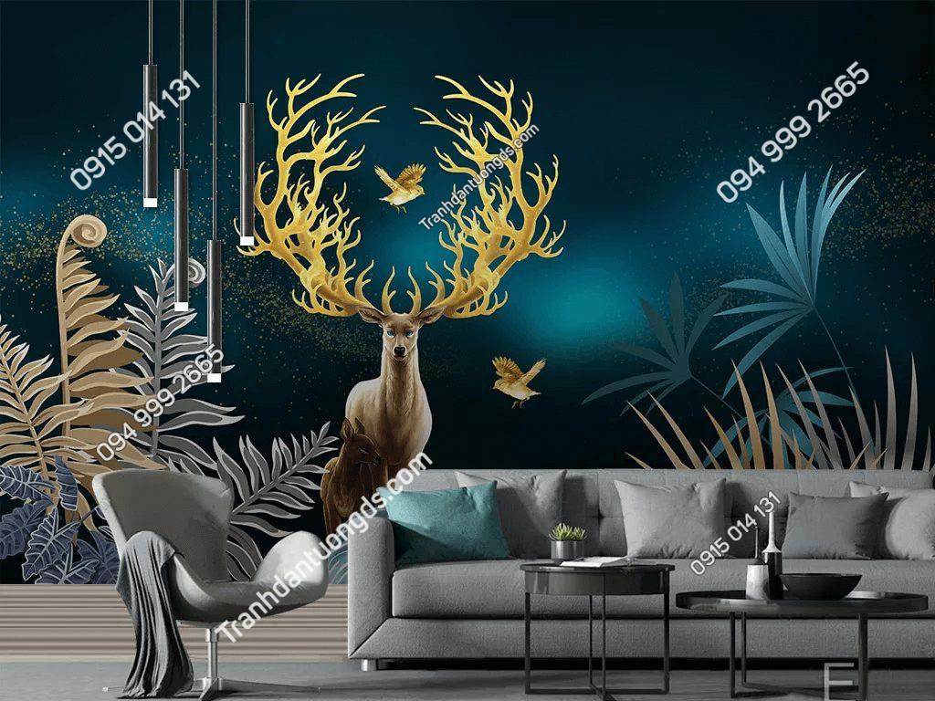Tranh dán tường hươu sừng vàng 5D053 dán phòng khách