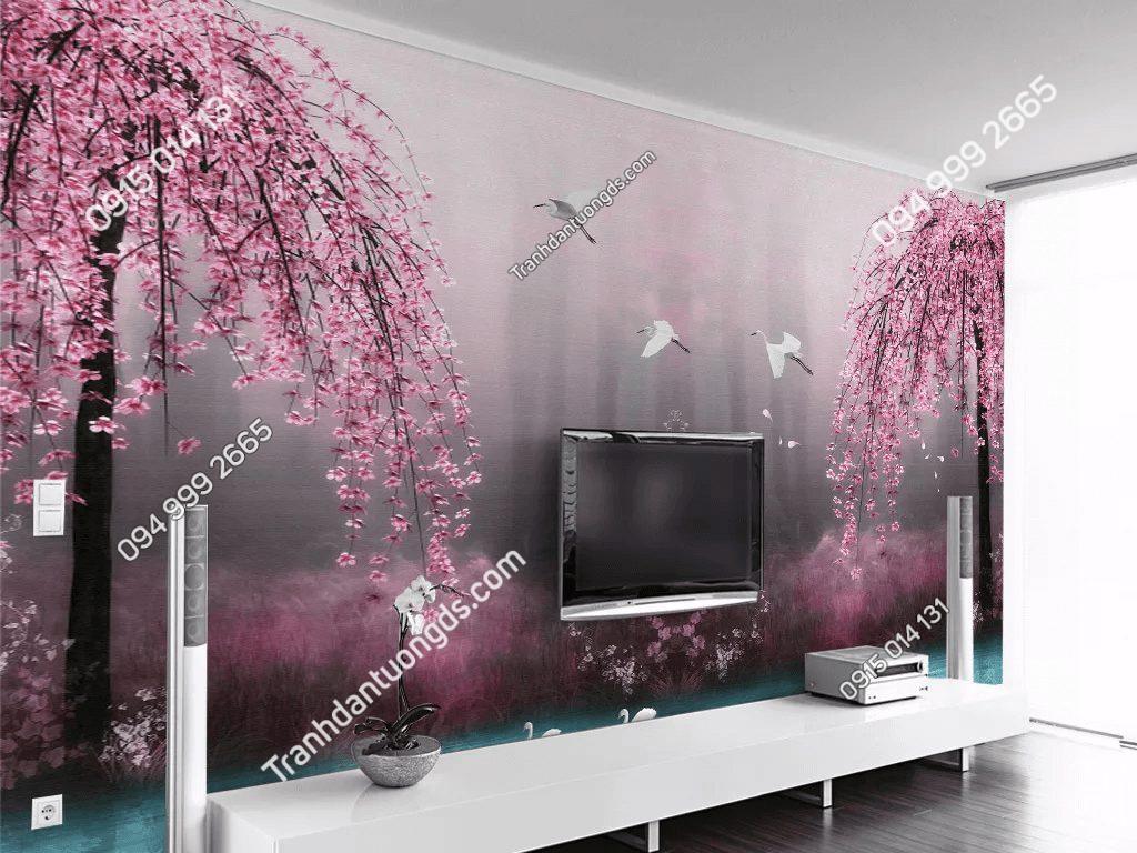 Tranh dán tường hồ hoa anh đào hồng 5D057 phòng khách