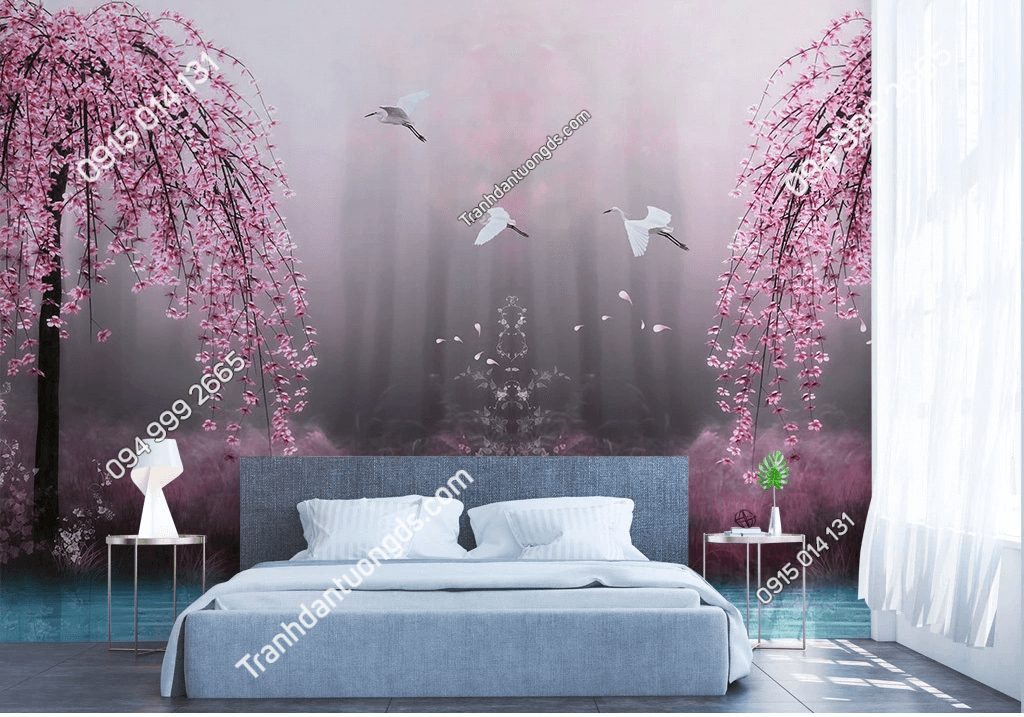 Tranh dán tường hồ hoa anh đào hồng 5D057 phòng ngủ