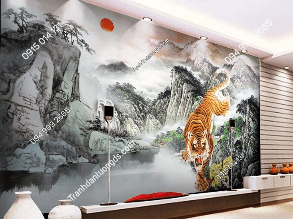 Tranh dán tường hổ hạ sơn 5D061