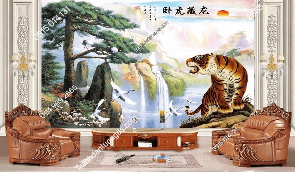 Tranh dán tường hổ sơn thủy 5D061