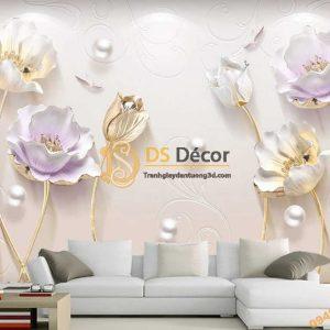 Tranh dán tường hoa Tulip ngọc trai 5D054