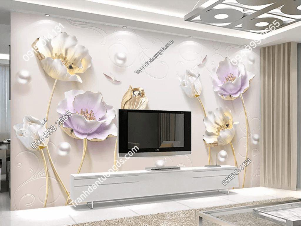 Tranh dán tường hoa Tulip ngọc trai 5D054 phòng khách