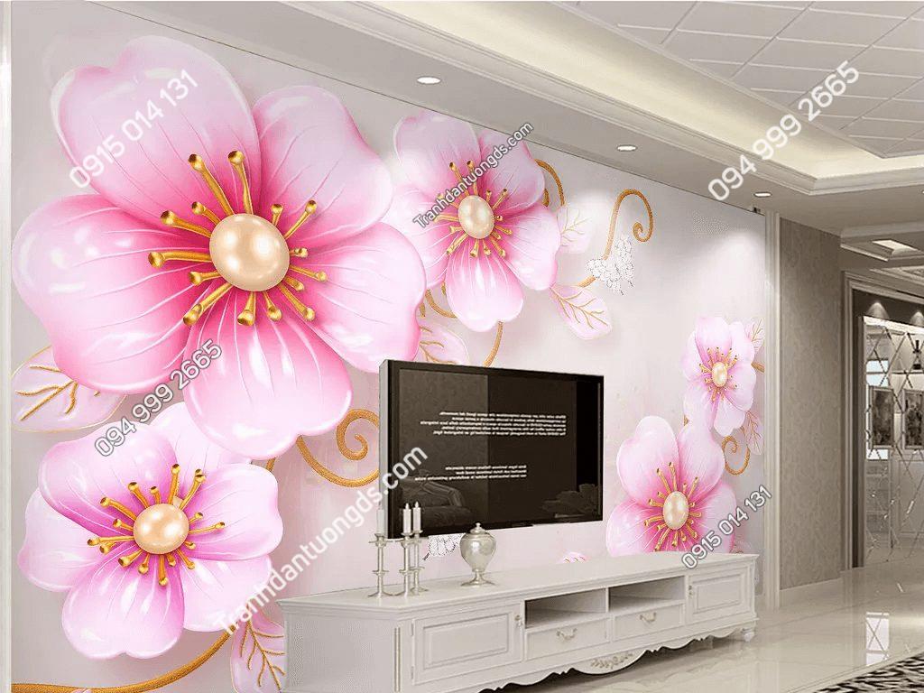 Tranh dán tường hoa anh đào 5D045 phòng khách siêu đẹp