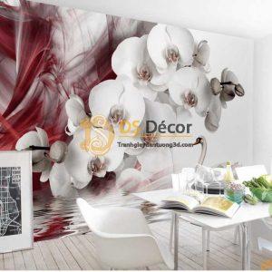 Tranh dán tường hoa lan và thiên nga 5D056 phòng ăn