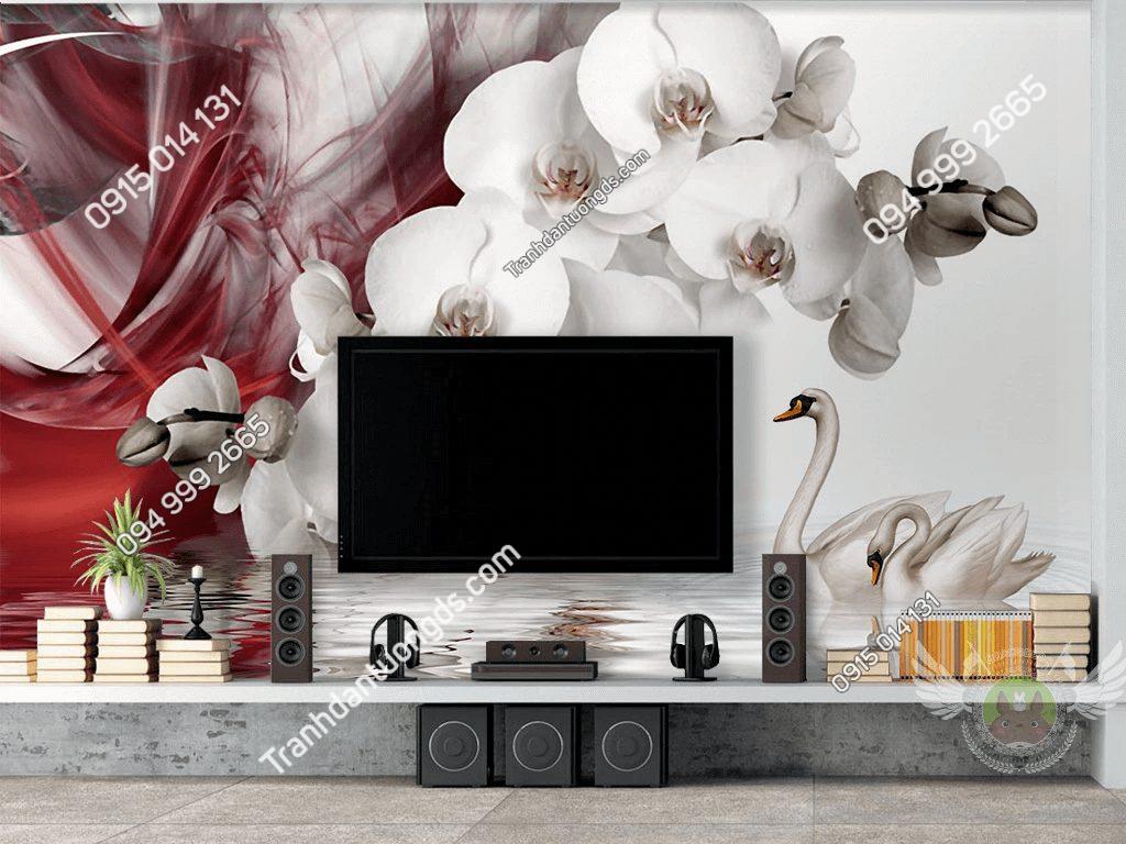 Tranh dán tường hoa lan và thiên nga 5D056 phòng khách