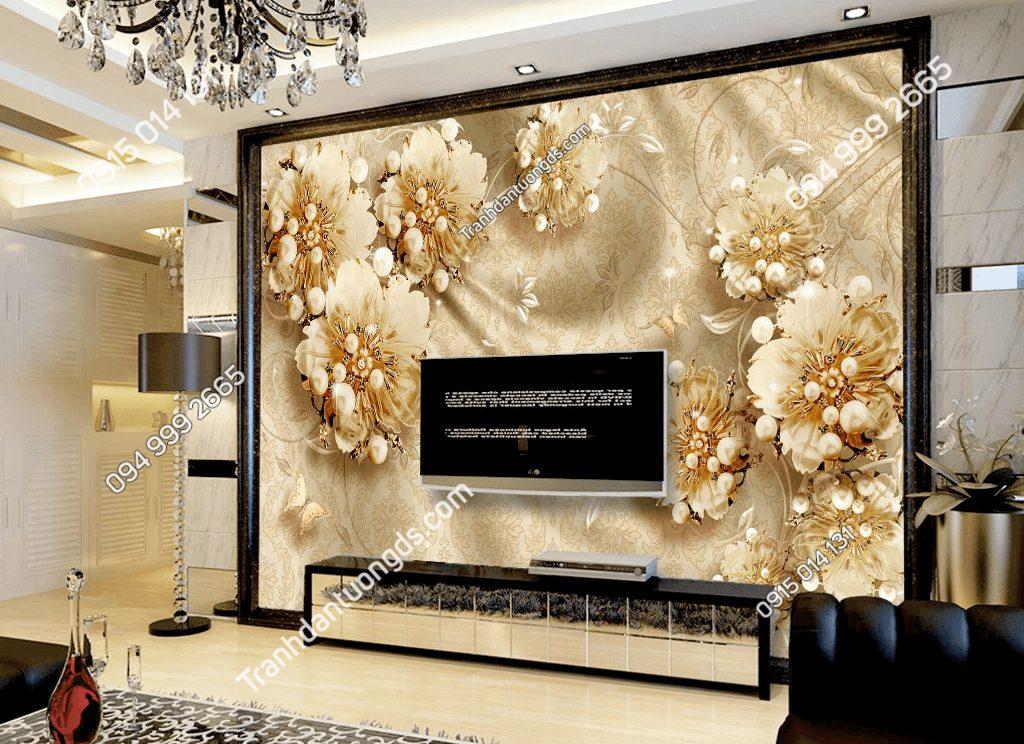 Tranh dán tường hoa ngọc trai 5D046 phòng khách