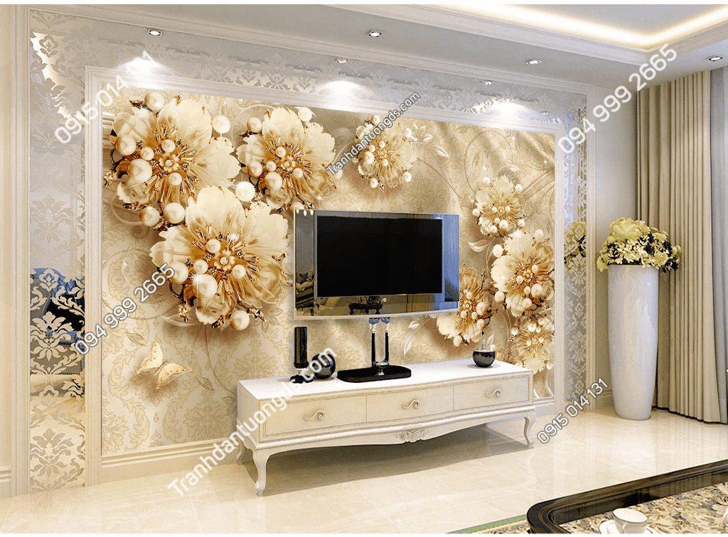 Tranh dán tường hoa ngọc trai 5D046 sau tivi