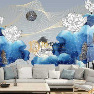 Tranh dán tường hoa sen trắng lá xanh dương 5D050 dán phòng khách