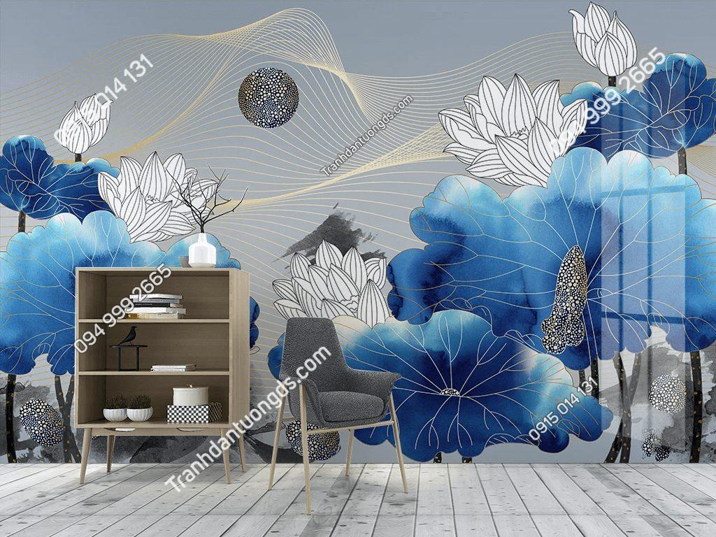 Tranh dán tường hoa sen trắng lá xanh dương 5D050