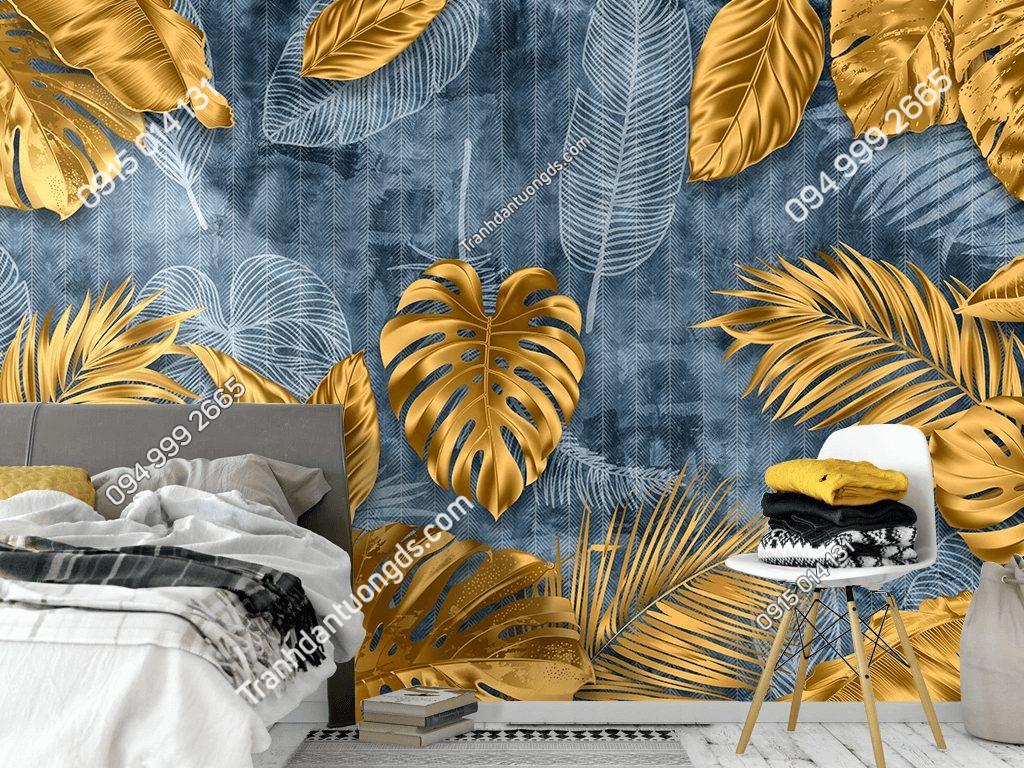 Tranh dán tường lá cây vàng 5D049 dán phòng ngủ